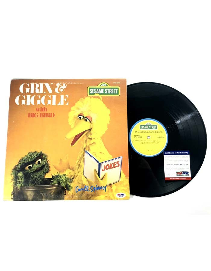 Caroll Spinney signed Sesame Street Grin & Giggle with Big Bird Vinyl Record