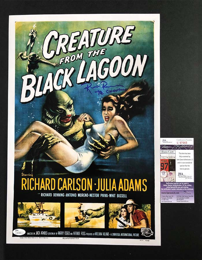 """Ricou Browning signed 12""""x18"""" Poster Creature from the Black Lagoon"""